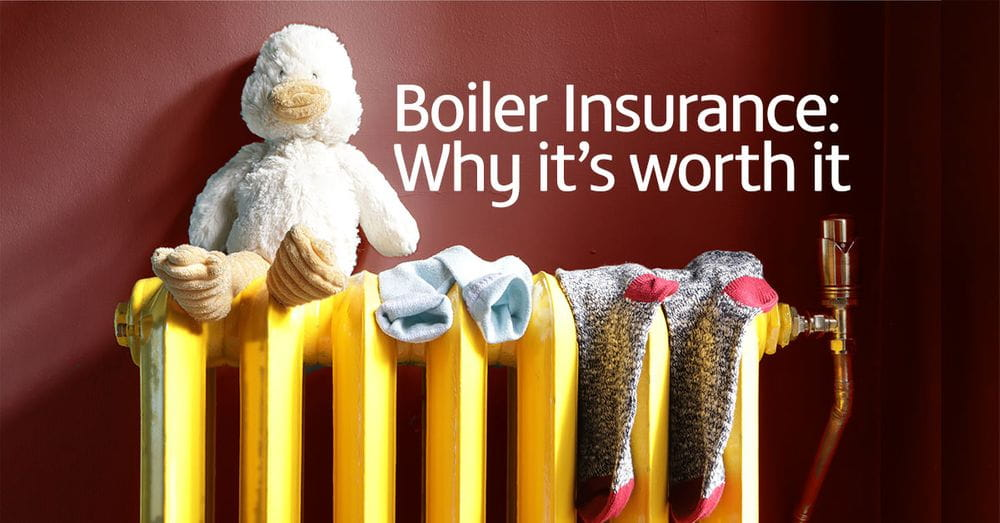 Radiator with teddy bear, 'Boiler insurance - why it's worth it' super imposed