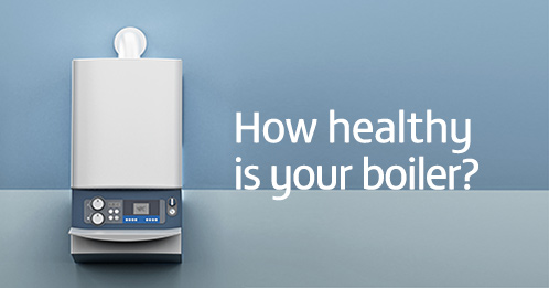 Wall mounted boiler with 'How healthy is your boiler' superimposed
