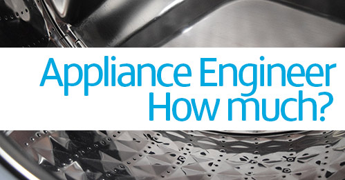 Close up picture of a washing machine drum with 'appliance engineer - how much?' super imposed