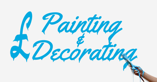 Picture of a hand painting 'painting and decorators' on a white background