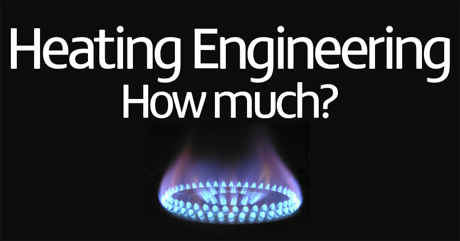 Picture of a gas hob ring with 'heating engineering - how much?' super imposed