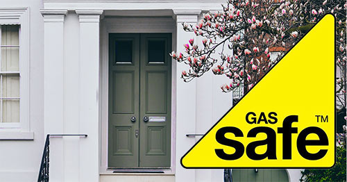 Picture of a house with the Gas Safe Register logo superimposed
