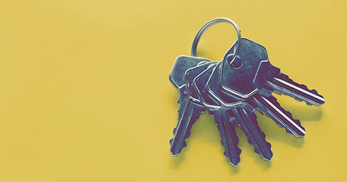 Keys on a yellow background
