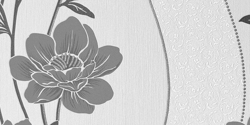 Close up image of floral wallpaper