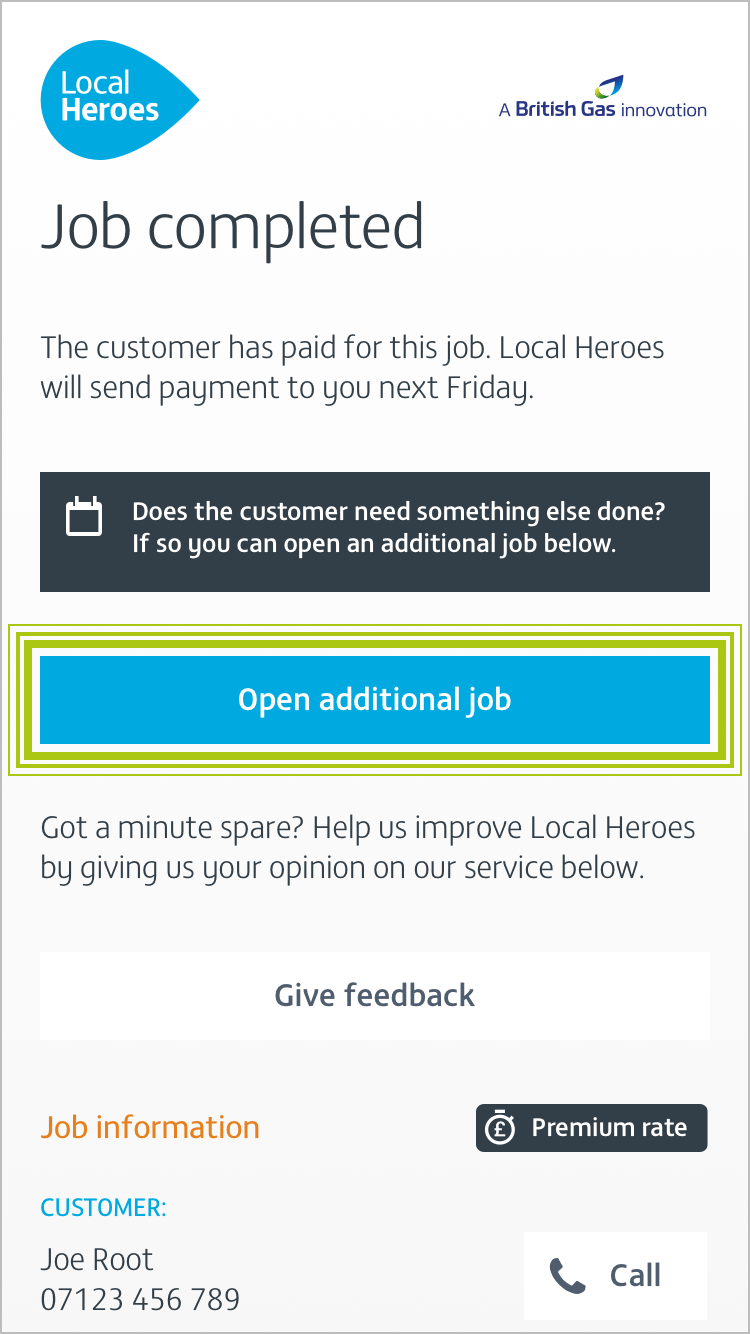 Screenshot showing opening an additional job
